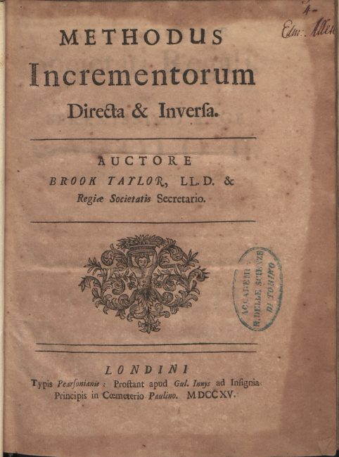 Brook Taylor, Methodus incrementorum directa et inversa, 1715