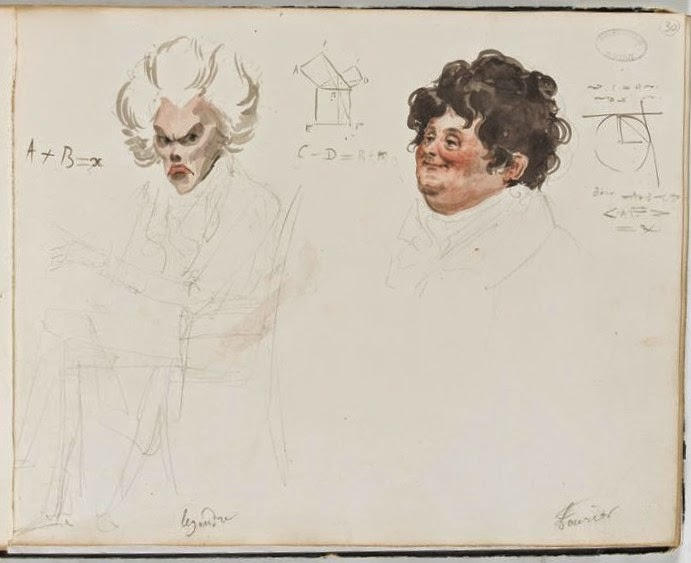 1820 watercolor portrait of French mathematicians Adrien-Marie Legendre and Joseph Fourier