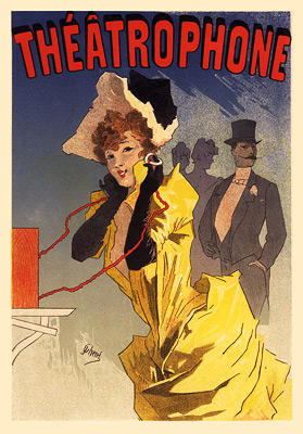 Le Théâtrophone. A poster depicting the théâtrophone (1896)