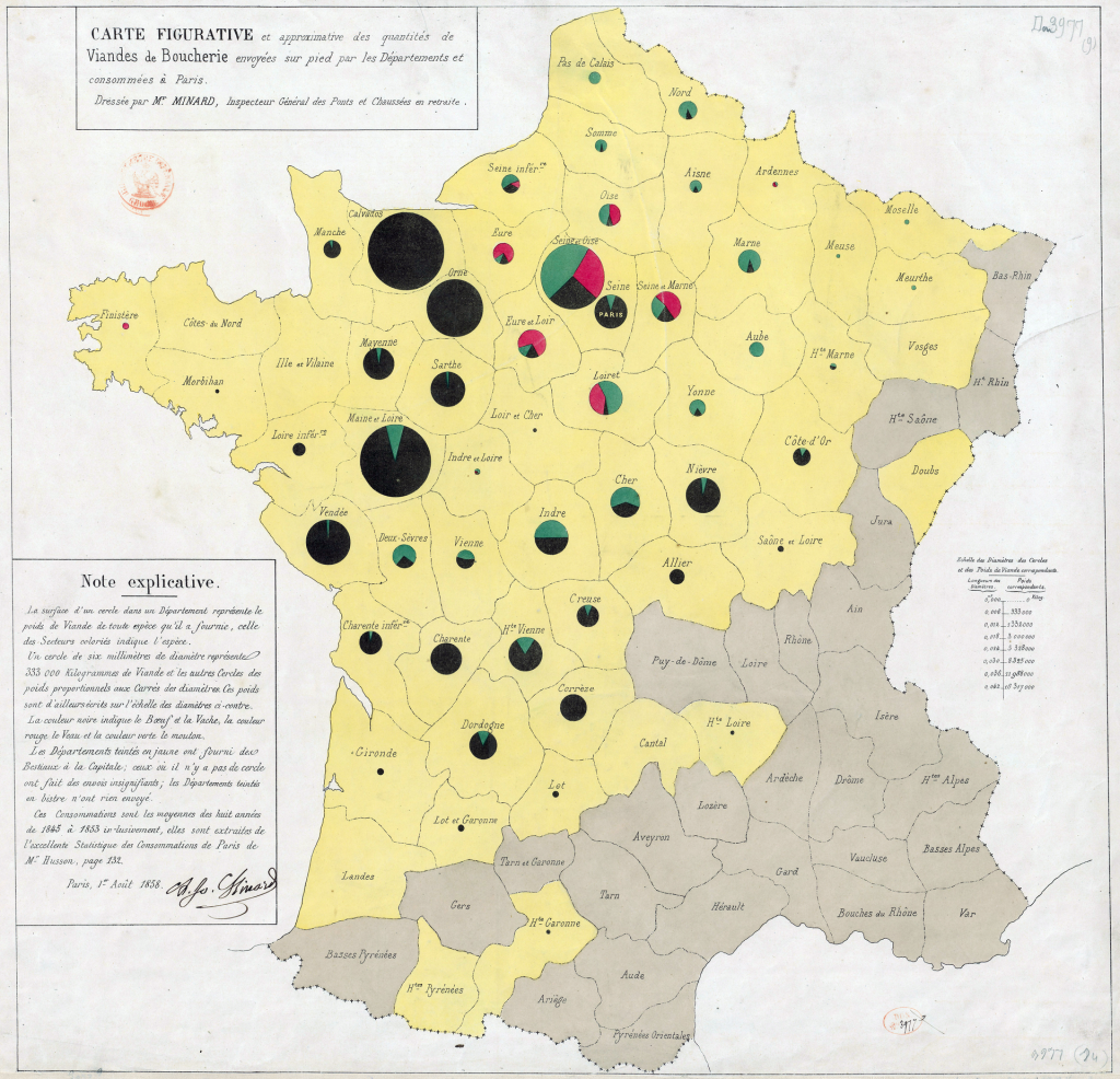 Minard's map using pie charts to represent the cattle sent from all around France for consumption in Paris (1858)