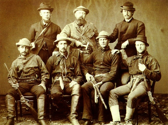 O.C. Marsh (back row and center), surrounded by armed assistants for his 1872 expedition.
