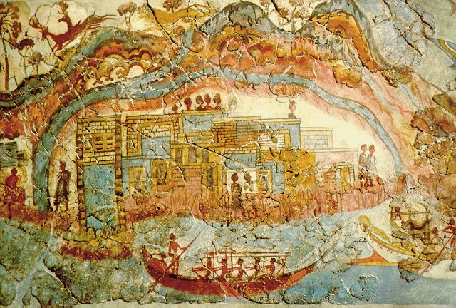 fresco from the bronze age in the minoan town Akrotiri, Santorini, Greece