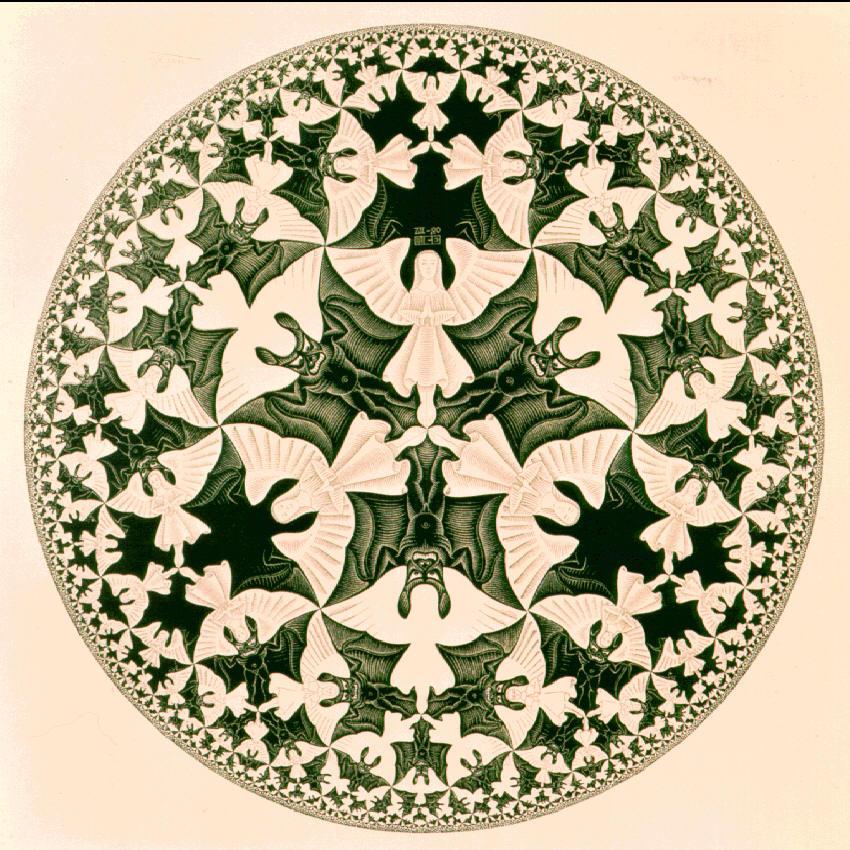 M.C.Escher, Circle Limit IV, illustrating hyperbolic geometry