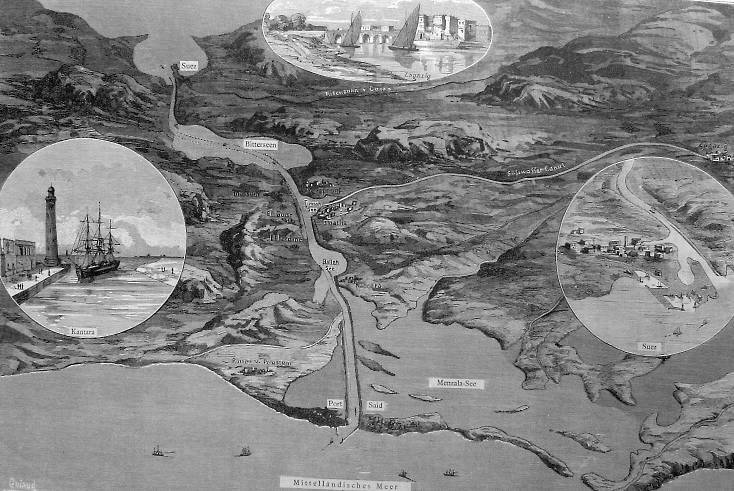 Diagram of the Suez Canal from 1882