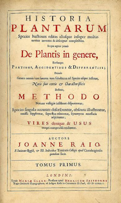 Title page of Historia Plantarum, John Ray, 1686
