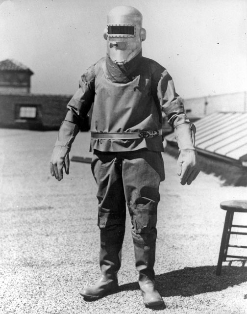 Wiley Post posed in his first pressure suit, 1934