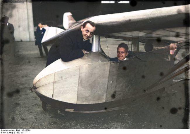 Alexander Lippisch, with Günther Grönhoff in the cockpit of the Storch V.