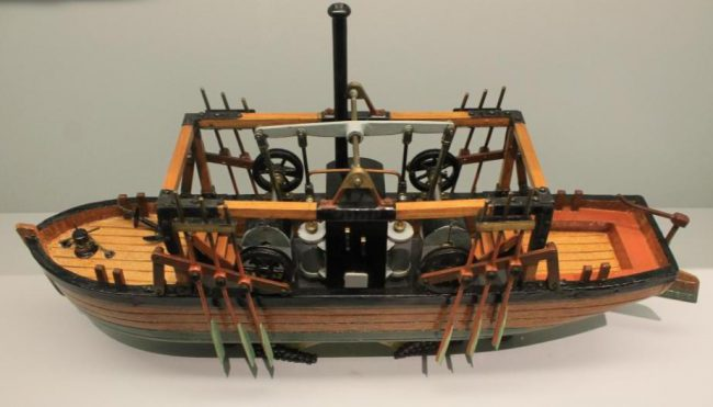 Model of one of J. Fitch's experimental boats, exhibited in the Technikmuseum Berlin