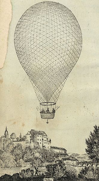 Charles Green's balloon at Weilburg, Germany, 1836.