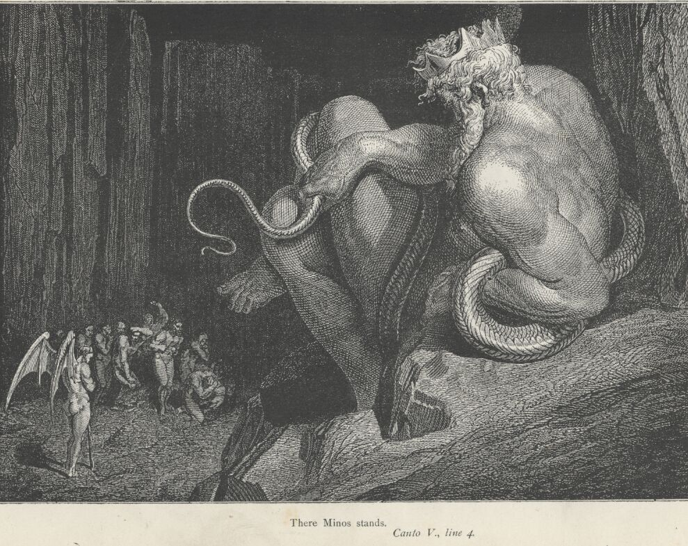 Minos stands in judgement in Dante's Inferno Canto 5 line 4 as drawn by Gustave Doré 1861-1865.