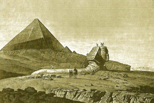 "The Sphinx in front of the Cheops Pyramid, after Denon, ""Description de l'Egypte"", 1810, Vol. V, pl.8"