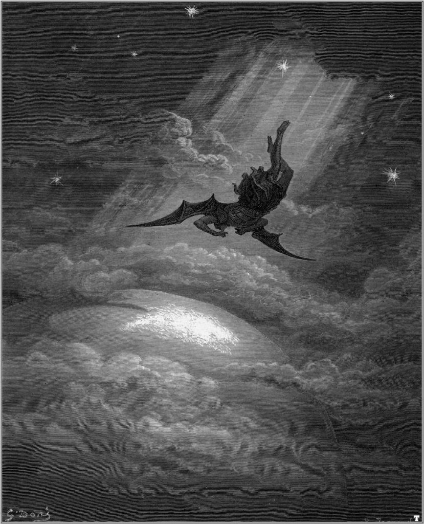 Illustration to John Milton's Paradise Lost, Satan descends upon Earth.1866