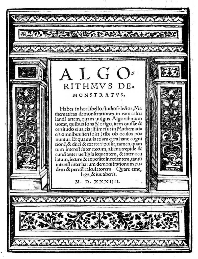 Johannes Schöner, Algorithmus demonstratus, 1534