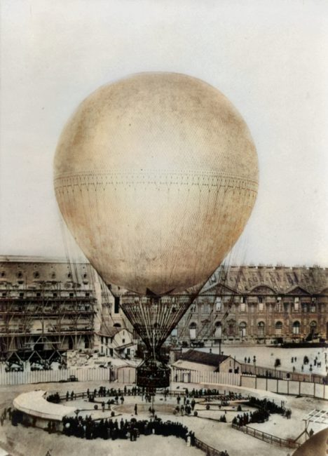 Henri Giffard balloon at the Tuileries. Photo by Prudent René Patrice Dagron, 1878.