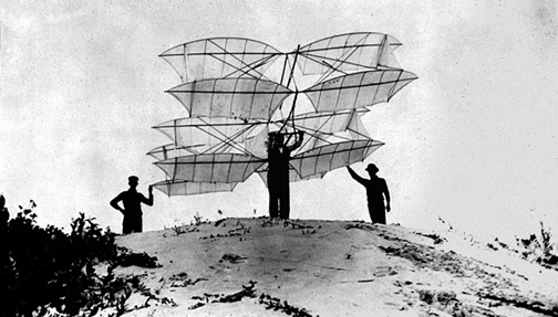 A twelve-winged glider of Chanute's design, prepared for launch from the dunes of Miller Beach in 1896.