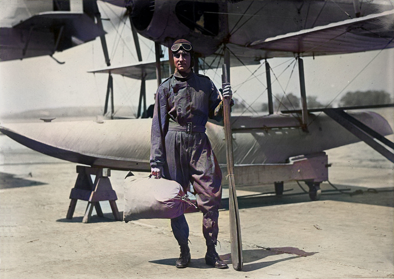 Richard Evelyn Byrd (1888 - 1957) in front of a Vought VE-7 Bluebird seaplane
