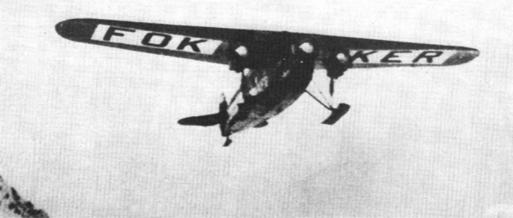 The Fokker F.VII of Byrd and Bennett in flight