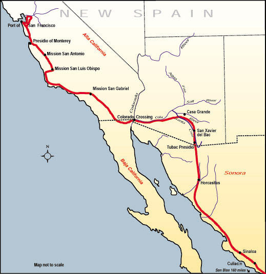 Map of the route, Juan Bautista de Anza travelled in 1775–76 from Mexico to today's San Francisco