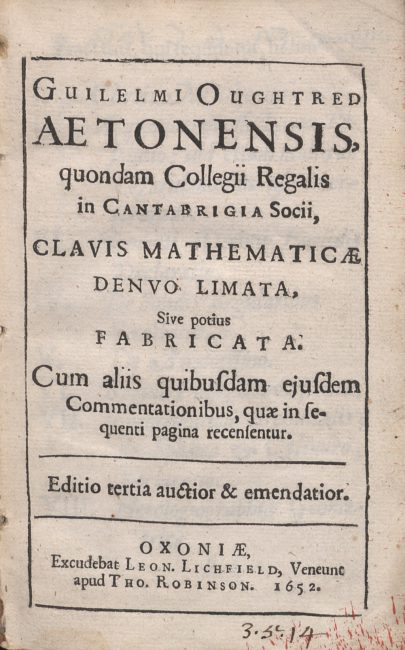 Clavis mathematicae, 1652