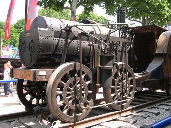 Replica of 1829 locomotive Marc Seguin at the Champs Elysées Expo Train Capitale, Paris, 2003.. Photo: GIRAUD Patrick