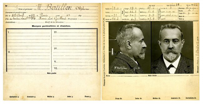 Anthropometric data sheet (both sides) of Alphonse Bertillon (1853-1914), a pioneer of the Scientific Police, inventor of anthropometry, first head of the Forensic Identification Service of the Prefecture de Police in Paris (1893).