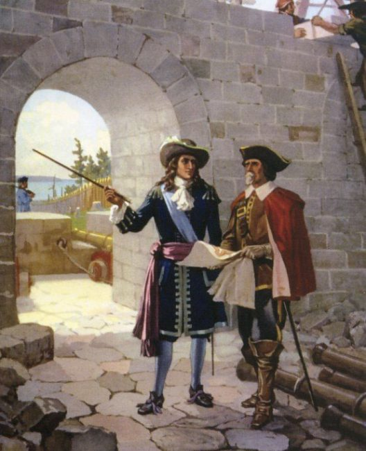 Depiction of La Salle inspecting the reconstruction of Fort Frontenac, 1675. Painting by John David Kelly.