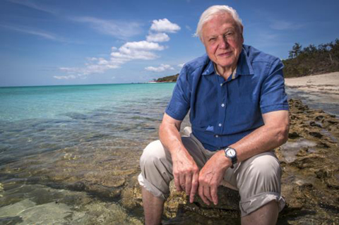 Photograph of Sir David Attenborough seated at the Great Barrier Reef, taken for his Great Barrier Reef series