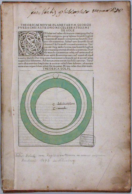 "Georg von Peuerbach: ""Theoricae novae planetarum"", 1473"