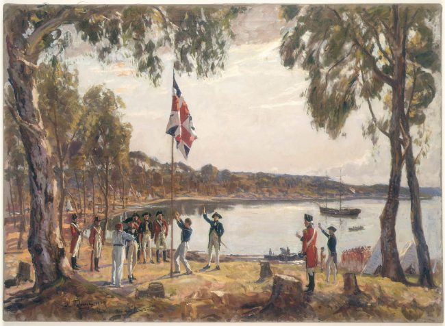 Algernon Talmage, The Founding of Australia. By Capt. Arthur Phillip R.N. Sydney Cove, Jan. 26th 1788. Oil sketch.