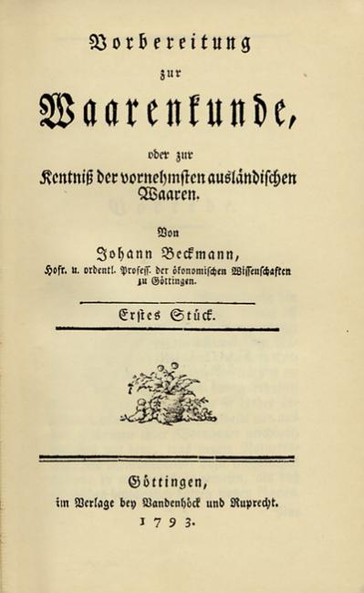 Johann Beckmann: Vorbereitung zur Waarenkunde, 1793, title page