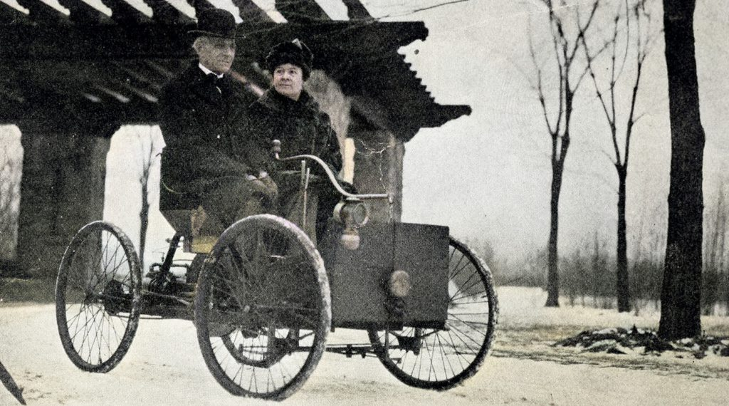 Henry Ford together with his wife in his first car, the Quadricycle