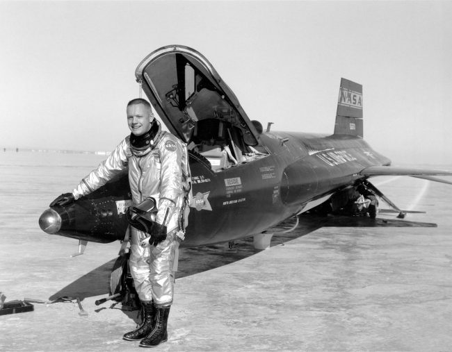 Armstrong and X-15-1 after a research flight in 1960