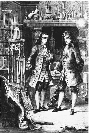 Robert Boyle and Denis Papin inspecting Papin's digester