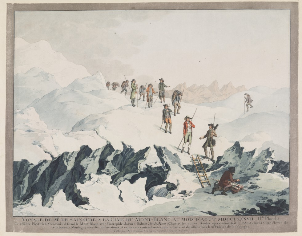 Christian von Mechel, Descent from Mont-Blanc in 1787 by H.B. de Saussure, copper engraving. Collection Teylers Museum, Haarlem