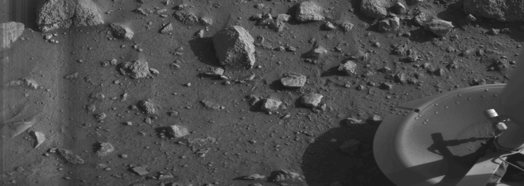 """First """"clear"""" image ever transmitted from the surface of Mars - shows rocks near the Viking 1 Lander (July 20, 1976)."""
