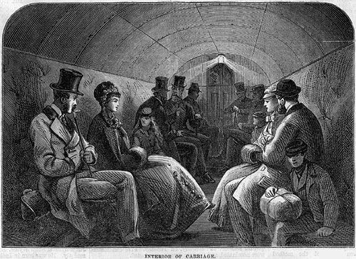Interior of the car of the Tower Subway in 1870