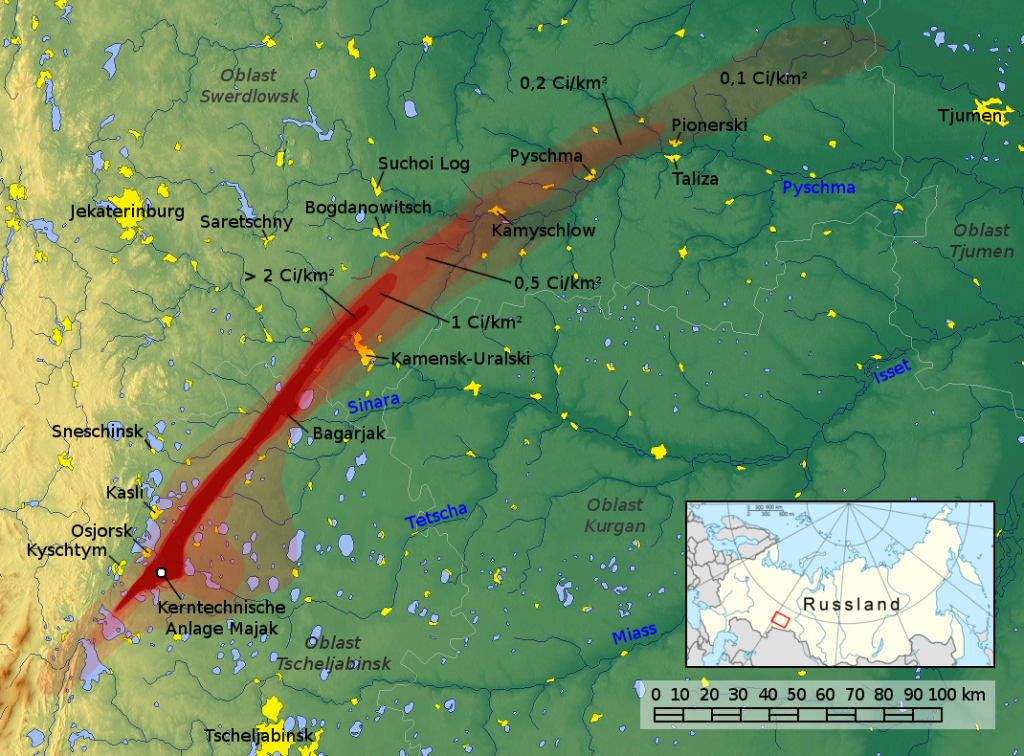 Map of the East Urals Radioactive Trace