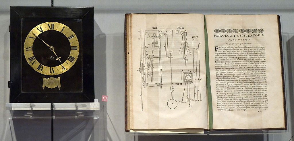 One of the first pendulum clocks designed by the inventor of the pendulum clock, Christiaan Huygens, and his treatise on the pendulum, Horologii Oscillatorii published in 1673, on display in Museum Boerhaave in Leiden, Netherlands. (photo: Rob Koopman)