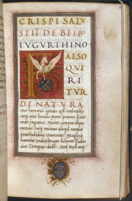 c. 1490 manuscript for De Bello Jugurthino