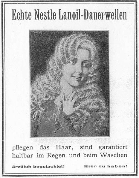Turn-of-the-century German advertisement for the permanent wave of Karl Nessler