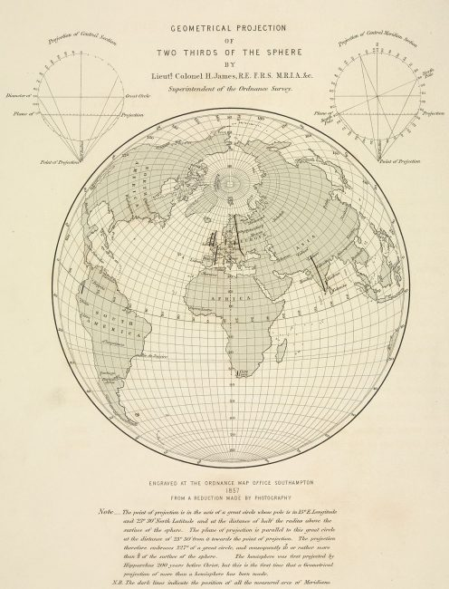 A perspective projection showing the meridian arcs used in computing the figure of the Earth, 1860.