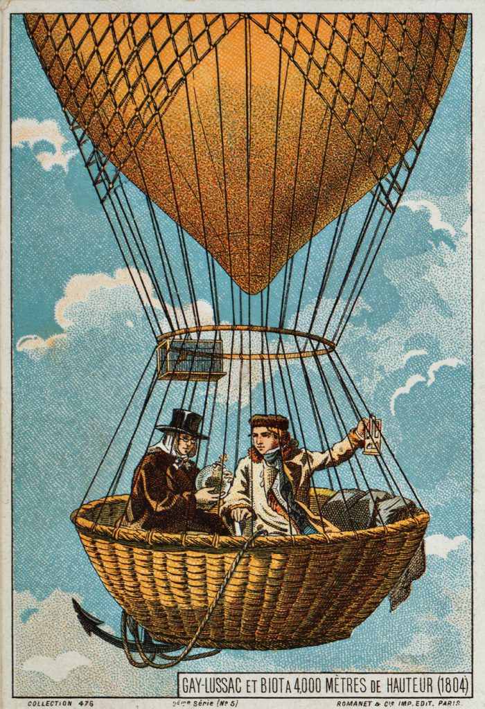 Gay-Lussac and Biot ascend in a hot air balloon, 1804. Illustration from the late 19th century.
