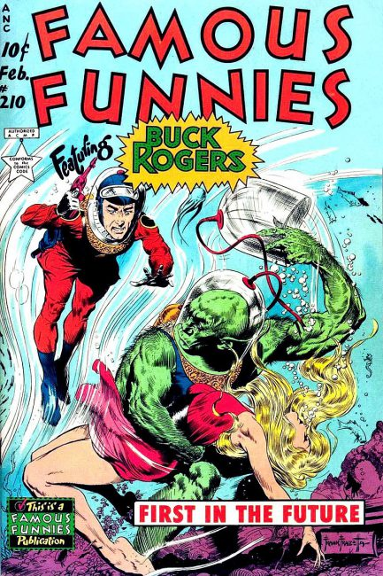 Cover of Famous Funnies number 210 (February 1954), featuring Buck Rogers
