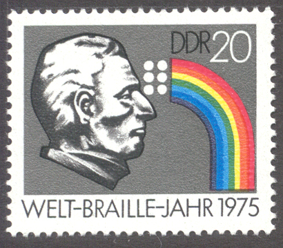 Louis Braille (1809-1852), Stamp of the German Democratic Republic, 1975