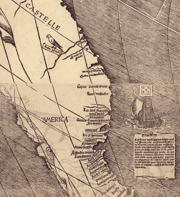 "Detail of Martin Waldseemüller's map showing the name ""America""."