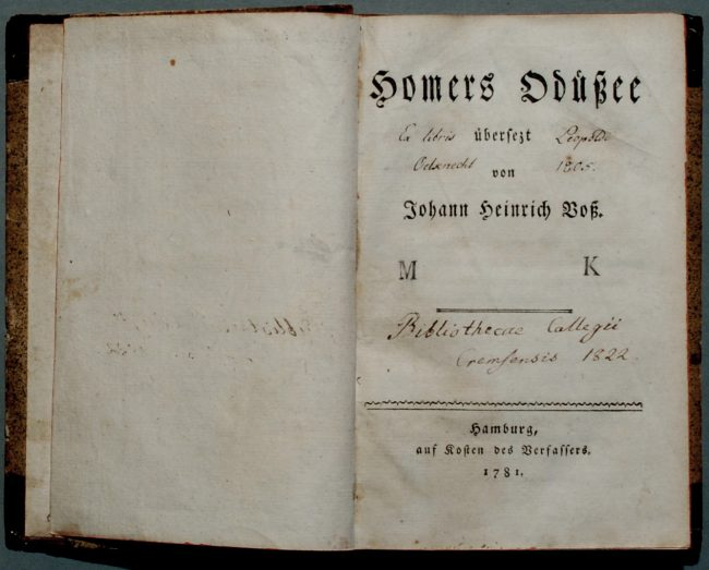 Homer's Odyssea, translated by Heinrich Voss, Cover of the First Edition