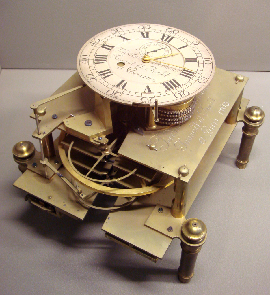 Ferdinand Berthoud, Berthoud marine clock no.2, with motor spring and double pendulum wheel, 1763.