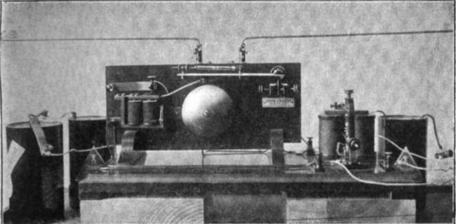One of the first radio receivers, built by Russian physicist Alexander Popov as a lightning detector in 1894. It is not clear from the source whether this is the original or a recreation.
