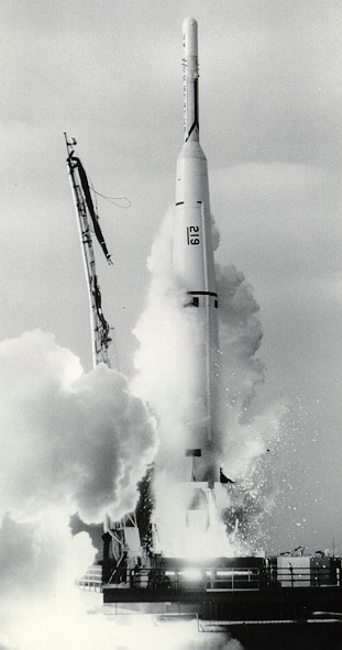 Lift-off of the Thor Able IV with Pioneer 5 spacecraft (1961).
