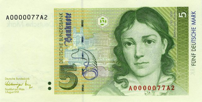 Bettina von Arnim on an old German banknote